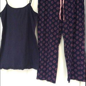 2 Piece Pajama Set Long Capris Tank Top Navy Pink